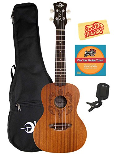 Luna Honu Mahogany Concert Ukulele Bundle with Gig Bag, Tuner, Austin Bazaar Instructional DVD, and Polishing Cloth