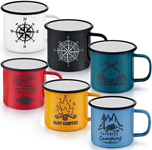 16 Oz Enamel Mug Coffee Cup Set of 6 P P CHEF Camping Enamel Mug with Patterns Handle for Tea product image