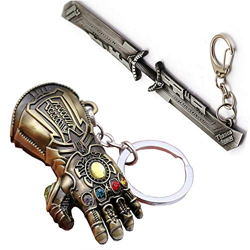 UVie Avengers Thanos Infinity Gauntlet Keychains (2PCS) - Glove and Double-Bladed Sword- Key Chain Gifts for Girl Boy Man Women Friends, Brown, 6.24.0 inches