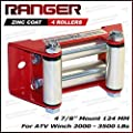 "Ranger ATV Winch Roller Fairlead 4 7/8"" (124MM) Mount for 2000-3500 LBs ATV Winch by Ultranger Glossy (Red)"