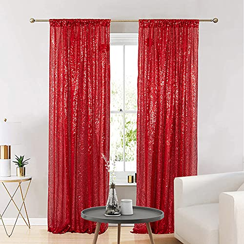Eternal Beauty Glitter Sequin Backdrop Curtains for Wedding Party Decor, Sequence Christmas Backdrop Curtain (2 Pack, W3FT x H7FT,Red)
