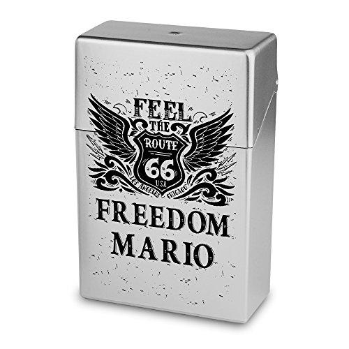 Zigarettenbox mit Namen Mario - Personalisierte Hülle mit Design Route 66 - Zigarettenetui, Zigarettenschachtel, Kunststoffbox
