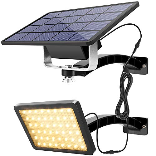 Solar Dusk to Dawn Light Outdoor Warm White JACKYLED 48 LED 1000 Lumen Solar Powered Spotlight with 5500mAh Battery Waterproof Wall Mount Security Lights for Front Door Porch Patio Garage (Black)