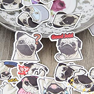 Sticker 40 Pcs/lot Pug Expression Paper Decal for Phone Car Case Waterproof Laptop Bicycle Notebook Backpack Kids Toy
