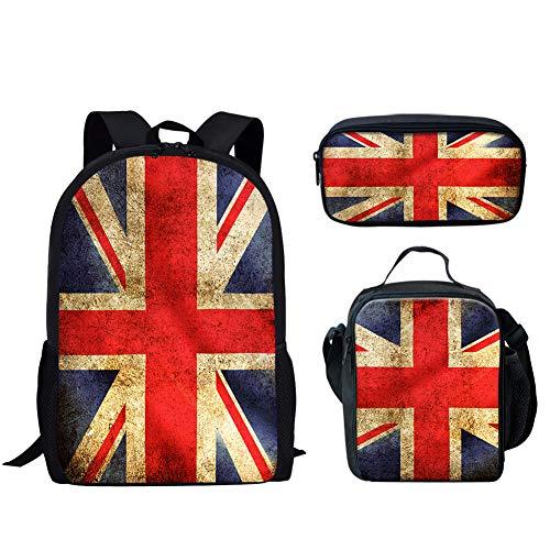 Coloranimal - Mochila infantil con estampado de la bandera de Inglaterra británica británica para niños con bolsa de almuerzo aislada+estuche para lápices
