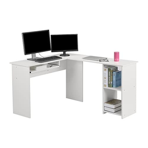 Langria L Shaped Computer Corner Desk Pc Latop Study Table Modern Home Office