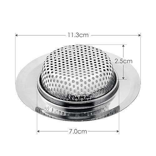 """2x Kitchen Sink Strainer Basket Catcher Wide Rim 2mm Holes Rim 4.5/"""" Drain Filter"""