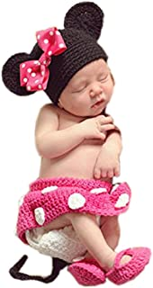 Pinbo Baby Girls Photography Prop Cute Mouse Knitted Crochet Hat Dress Diaper Shoes