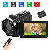Video Camera Camcorder Digital YouTube Vlogging Camera Recorder Full HD 1080P 30FPS 3.0 Inch LCD 270 Degrees IPS Screen LED with 32GB Card 1 Battery