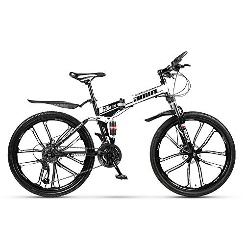 Mountainbike 26-Zoll-27-Gang- / 21-Gang- / 24-Gang-All-in-One-Rad, Doppelt Stoßdämpfendes Cross-Country-Falt-Mountainbike, Männliches und Weibliches Geschenk U-förmiges Vordergabel-Fatbike (24-Gang,D)