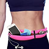 memumi Cangurera Deportiva, Cinturón para Correr, Bolsa de Cintura Running Ajustable Resistente al Agua para iPhone 11/11 Pro MAX Riñonera de Correr (Rosa)