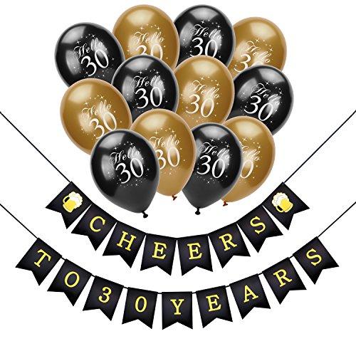 Konsait cumpleaños pancartas de Banderines Cheers to 30 Years con 30 Dorados y Negro Globos De Látex Globos Perlados para Adultos 30 Años de Antigüedad Fiesta de Cumpleaños Decoraciones