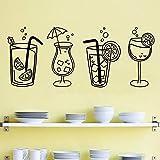 Verano Naranja Jugo de limón Copas de cóctel Copas Copa Bebidas heladas Etiqueta de la pared Calcomanía de vinilo Sala de estar Pub Bar Restaurante Cocina Decoración para el hogar Mural