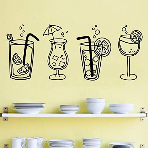 HGFDHG Calcomanías de Vinilo de Pared Cuatro Bebidas de Copa de cóctel para Cocina Bar Restaurante decoración de Pared Interior Pegatinas de Ventana