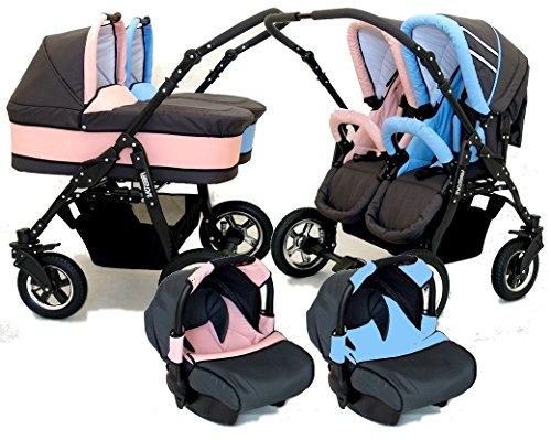 BBTwin - Passeggino 3 in1 per bambini, gemellare,con 2ovetti + 2sedie + 2seggiolini gruppo 0+ accessori Blu+Rosa