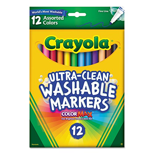 Crayola 587813 Washable Markers, Fine Point, Classic Colors, 12/Set
