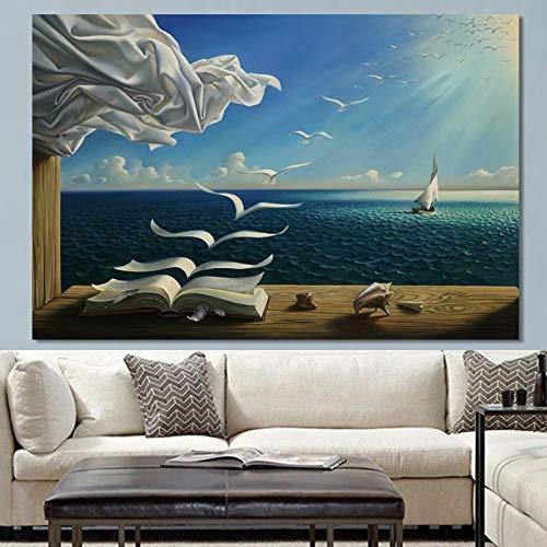 BuhuAZXM Abstracte posters en prints muurkunst canvas schilderij Flying Geeses boek decoratieve afbeeldingen voor de woonkamer 70x110cm Geen frame.