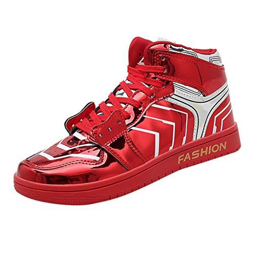 BoyYang Schuhe Unisex Erwachsene Hohe Sneakers Damen Lackleder Gummisohle Anti-Rutsch Rundzehen Sportschuhe Straßenlaufschuhe Fitness Schuhe Freizeitschuhe