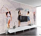 SKTYEE Custom 3D Mural Wallpaper Salón 3D Wallpaper Pintura al óleo Retrato Umbrella TV Fondo 3D Mural Wall Paper, 250x175 cm