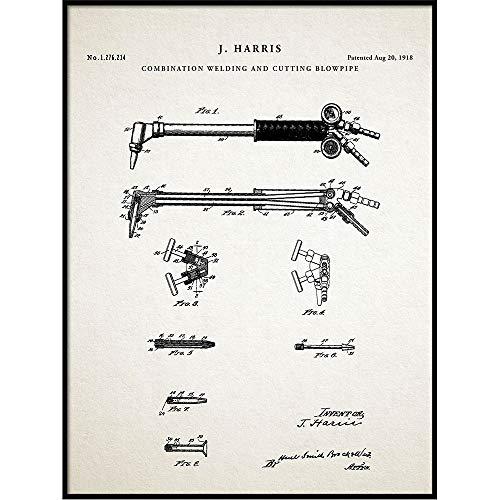 Welding Torch Patent Print Art 1918, Blowtorch, Industrial Schematic, Invention Blueprint, Engineer, Steampunk, QP386