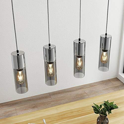 Lámpara colgante 'Eleen' (Moderno) en Gris hecho de Vidrio e.o. para Salón & Comedor (4 llamas, E27, A++) de Lindby | lámpara colgante, lámpara colgante, lámpara, lámpara de techo, lámpara de techo