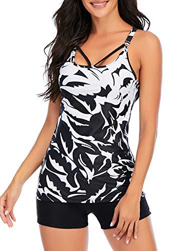 CORAFRITZ Conjunto de traje de baño Tankini de 2 piezas para mujer, color block Cami largo sin mangas con fondos, traje de baño con control de barriga, traje de baño para mujer
