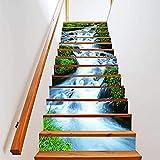 Fdit 6pcs 3D Streams Paisaje Natural Escaleras Autoadhesivas Elevadores Pegatinas Patrón de Cascada Impermeable Pegatinas de Escalera Etiqueta de Piso de Pared Decoración de Papel Tapiz