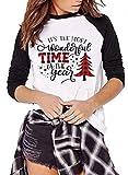 Its The Most Wonderful Time The Year T Shirt Women Plaid Christmas Tree Tops Letter Print Long Sleeve Raglan Baseball Tee White
