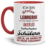 Tassendruck Lehrer-Tasse Stolze Lehrerin von Fantastischen Schülern - Innen & Henkel...