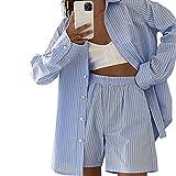 Women's Two Piece Outfits Short/Long Sleeve Y2K Button Shirts Elastic Waist Shorts Lounge Set Tracksuit Summer Streetwear (D-Blue, Medium)