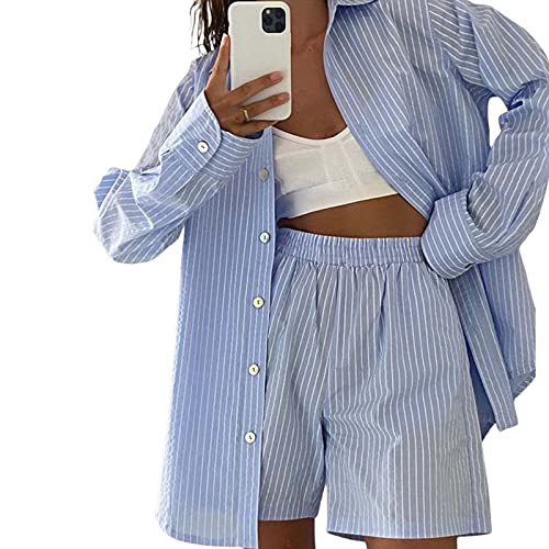 Conjunto de 2 piezas sueltas de manga larga con botones para mujer, pantalones cortos de verano, otoño, Azul B, XL