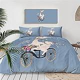 Bicicleta Flores Alpaca Juego De Cama Dibujos Animados Animales 3D Impreso Azul Funda Nordica PoliéSter Textiles NiñOs Adulto Adolescente, 200x200cm, 3 Piezas (1 Funda NóRdica 2 Funda Almohada)