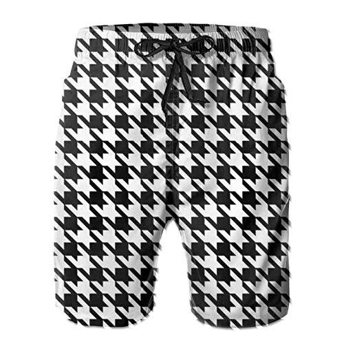 Shorts de baño Blancos de Pata de Gallo para Hombre, bañador de Secado rápido con Forro de Malla, Talla L