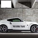 A/X 58cmx7.8cm Car Styling Cuanto más Cerca te acercas, más Lento conduzco el Auto