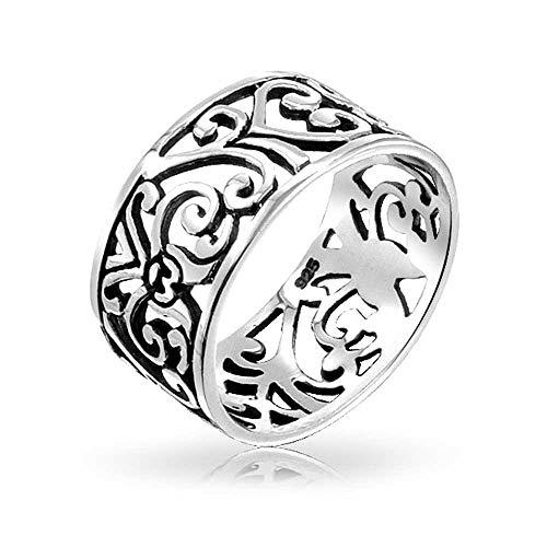 Boho moda 925 plata esterlina abierto remolino filigrana banda ancha anillo para adolescente para las mujeres 7MM