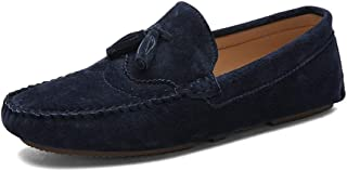 XinQuan Wang Driving Loafer for Men Boat Moccasins Slip On Style Leather Classic Fringe Breathable Solid Color (Color : Blue, Size : 8.5 UK)