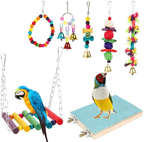 evebel 7 Pack Bird Swing Chewing Toys- Parrot Hammock Bell Toys Suitable for Small Parakeets, Cockatiels, Conures, Finches,Budgie,Macaws, Parrots, Love Birds