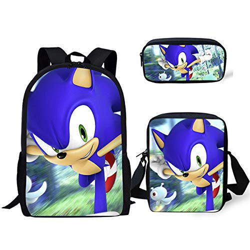 YUNMEI Sonic schultaschen 3 Stück / Set Anime Sonic Printing Schulrucksack Wolf Musterbuch Taschen Jungen Coole Schultasche Benutzerdefiniertes Muster Kinder Schultaschen