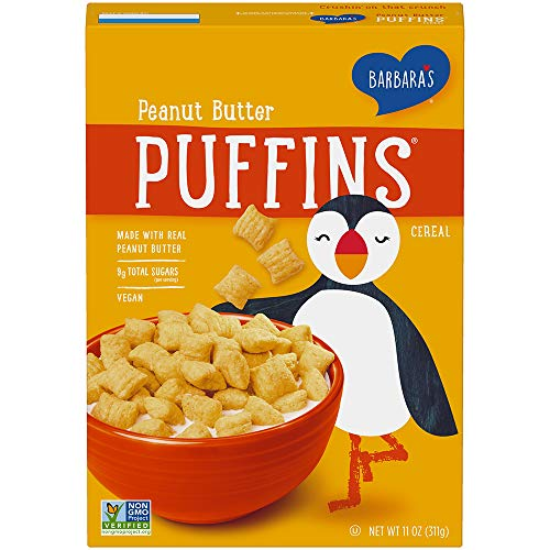 Barbara's Puffins Peanut Butter Cereal, Non-GMO, Vegan, 11 Oz Box (Pack of 4)