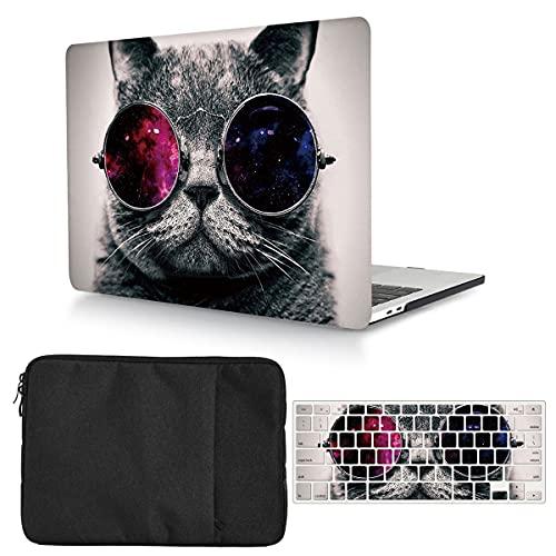 Hülle Kompatibel mit MacBook Air Retina 13 Zoll 2018 2019 2020 Release A2337 M1 A2179 A1932 mit Touch ID,Plastik Hartschale Schutzhülle und Laptop Tasche und Tastaturschutz - Katze