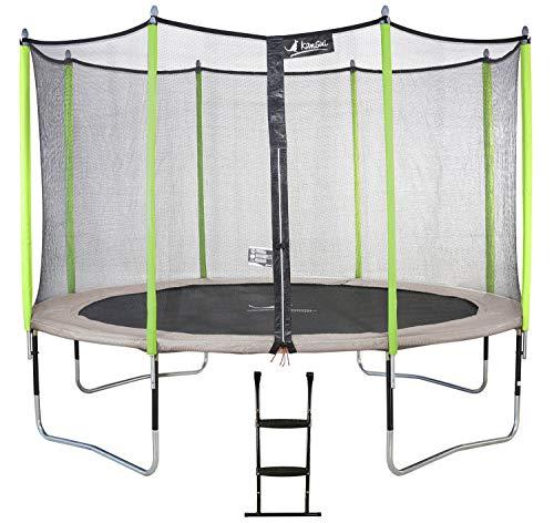 Kangui - Trampoline de Jardin 365 cm + Filet de sécurité + échelle JUMPI Taupe/Vert 360. Trampoline certifié par Le CRITT Sport & Loisirs