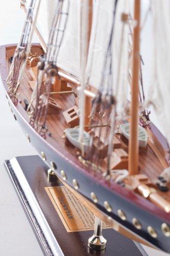 Freier Atlantik Segelschiff Segeljacht Modell Modellschiff Holz Standmodell Maritime Deko (Länge ca. 60 cm)
