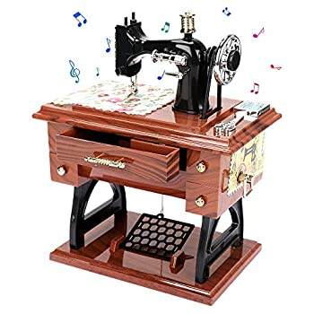 Global-store Music Box Vintage MiniSewingMachineMusicBox Gifts for Christmas Birthday Valentine s Day Thanksgiving Table Decoration Hand-Operated Present Adults Girls Boys Kid Toys
