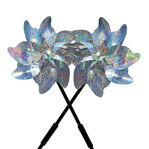 mooderf 2pcs Pinwheels Bird Repellent Reflective Bird Repellent Bird Scare Windmill, Outdoor Garden Decorative, Effective Reflection Silver Spinner For Outdoor Yard Lawn & Garden