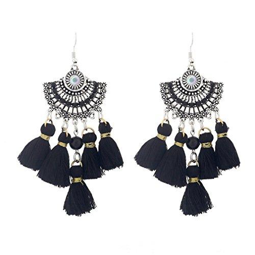 Ethnic Boho Drop Long Tassel Earrings For Women Maxi Brinco Fashion Jewelry Drop Vintage Dangle Bohemian Earrings Black