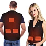 Wchiuoe Heated Vest, USB Heated Vest for Men Women with 5 Heated Pad Adjustable Electric Warm Vest with 3 Heat Temperature Control for Outdoor Activities, Fishing, Hiking and Hunting