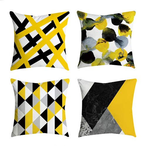 4 Pack Yellow Embroidered Decorative Throw Pillow Covers Cushion Cases for Couch Sofa Living Room Modern Farmhouse Big Sunflower Floral 18x18 inch