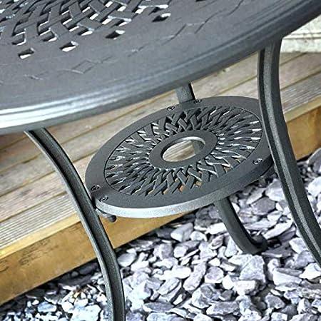 Blue Cushions Artisanal Sand Cast Aluminium Lazy Susan ANNA 80cm 2 Seater Round Table Lightweight Maintenance Free Slate Grey Finish Built to Last Weatherproof APRIL Chairs