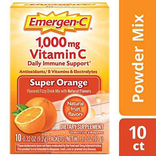 Emergen-C Vitamin C 1000mg Powder (10 Count, Super Orange Flavor), With Antioxidants, B Vitamins And Electrolytes, Dietary Supplement Fizzy Drink Mix, Caffeine Free