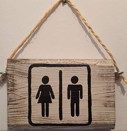 Cartel de Madera baño WC, con Frases, Personalizados, Vintage, Rustico, artesanales, Hechos a Mano. Señal Puerta WC, Toilet